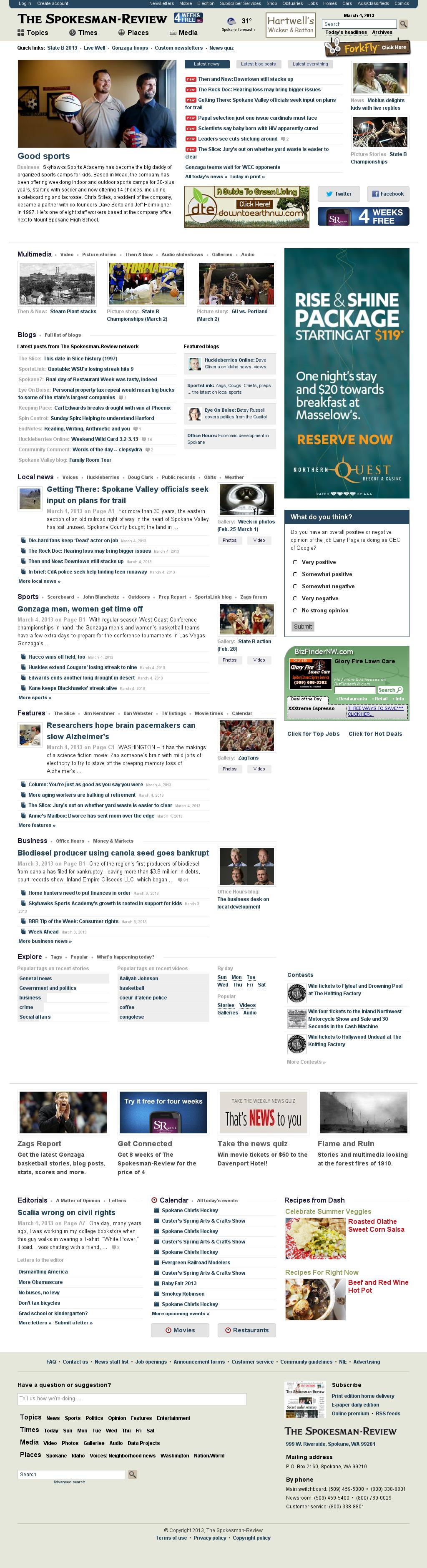The (Spokane) Spokesman-Review at Monday March 4, 2013, 10:19 a.m. UTC