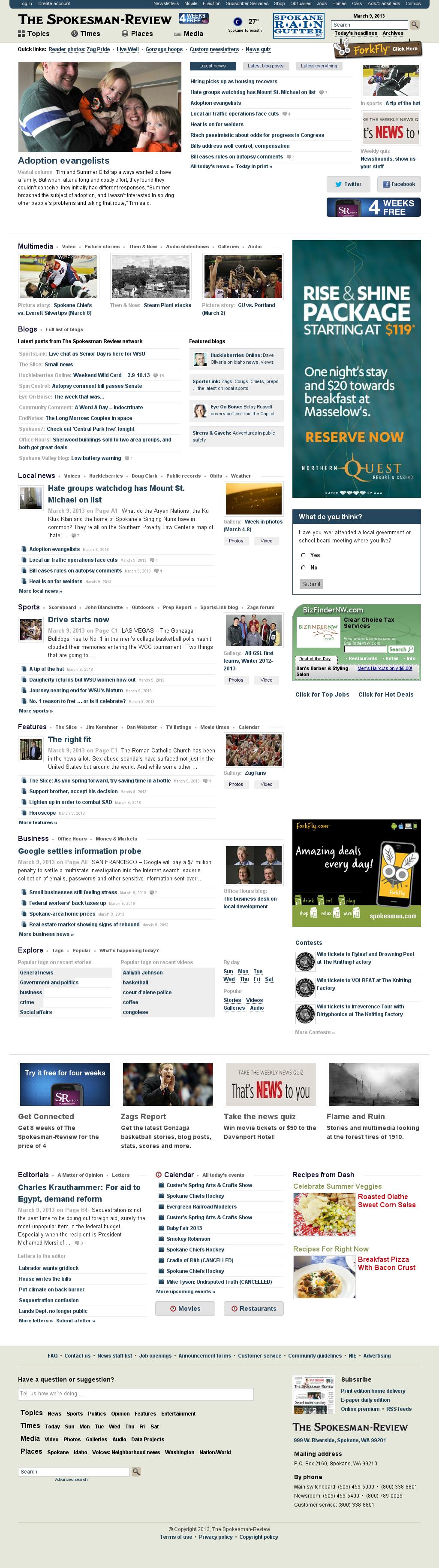 The (Spokane) Spokesman-Review at Saturday March 9, 2013, 2:19 p.m. UTC