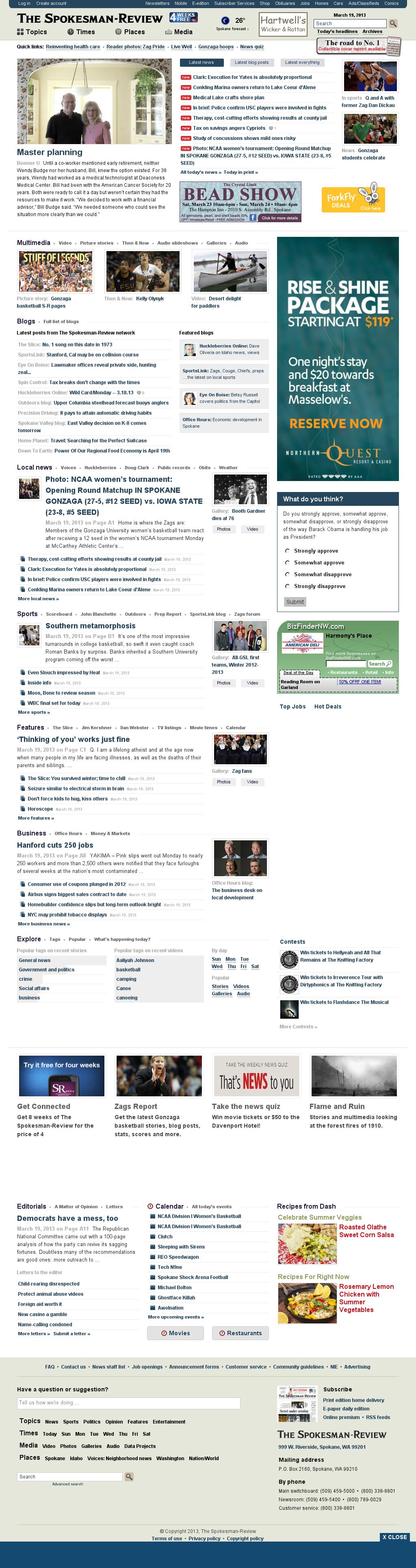 The (Spokane) Spokesman-Review at Tuesday March 19, 2013, 8:25 a.m. UTC