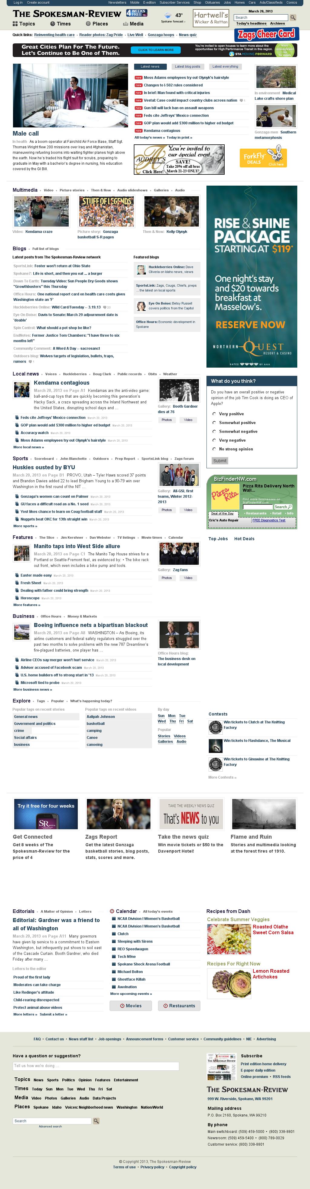 The (Spokane) Spokesman-Review at Wednesday March 20, 2013, 7:26 a.m. UTC