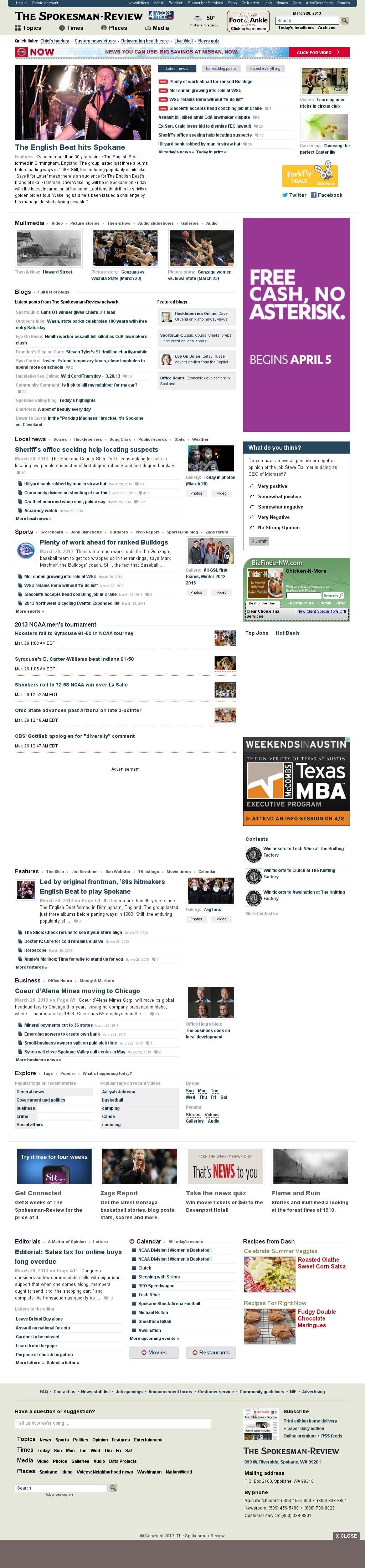 The (Spokane) Spokesman-Review at Friday March 29, 2013, 5:22 a.m. UTC