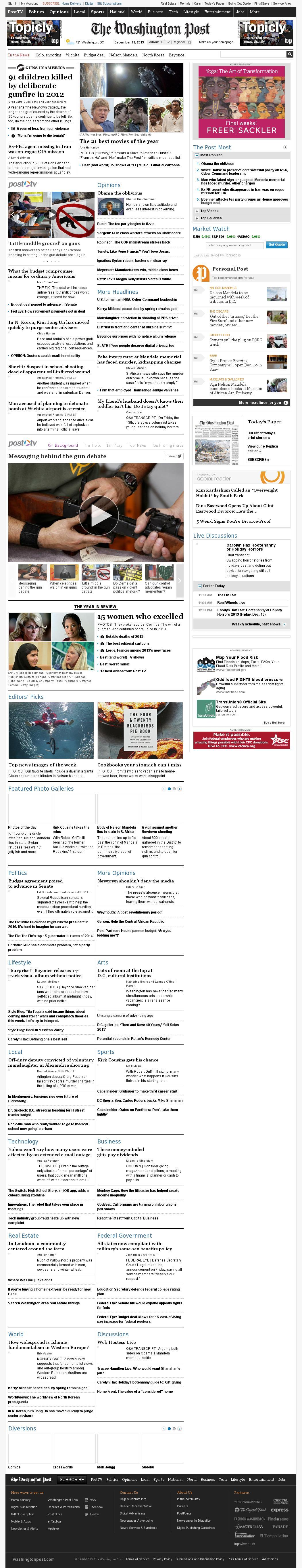 The Washington Post at Friday Dec. 13, 2013, 9:18 p.m. UTC