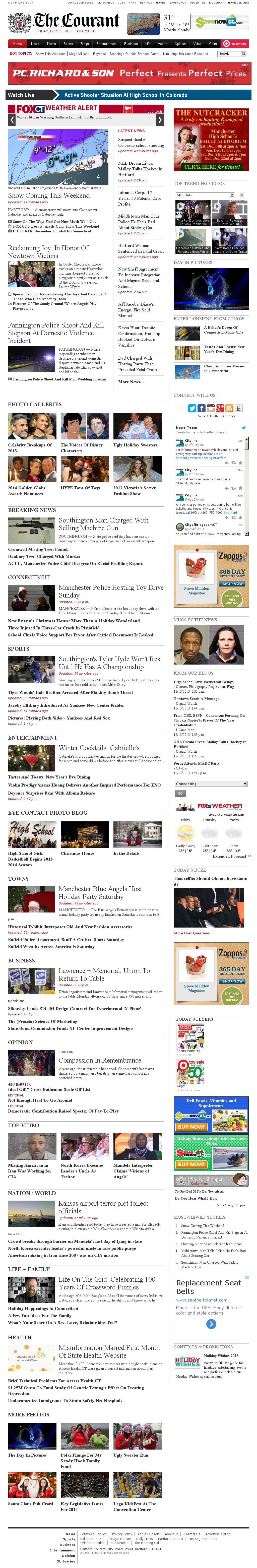 Hartford Courant at Friday Dec. 13, 2013, 9:06 p.m. UTC