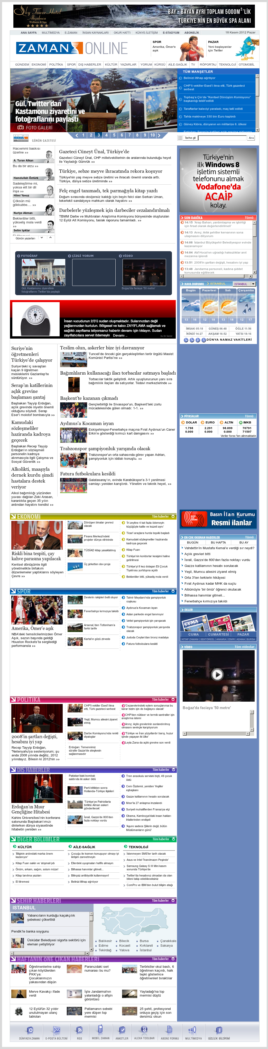 Zaman Online at Sunday Nov. 18, 2012, 12:33 p.m. UTC