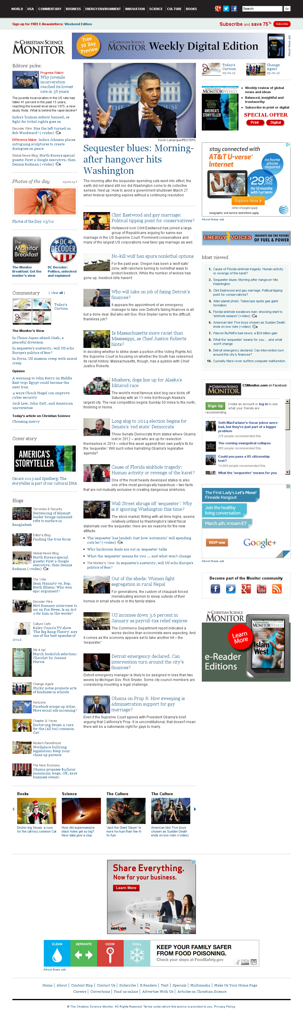 The Christian Science Monitor at Sunday March 3, 2013, 12:03 p.m. UTC