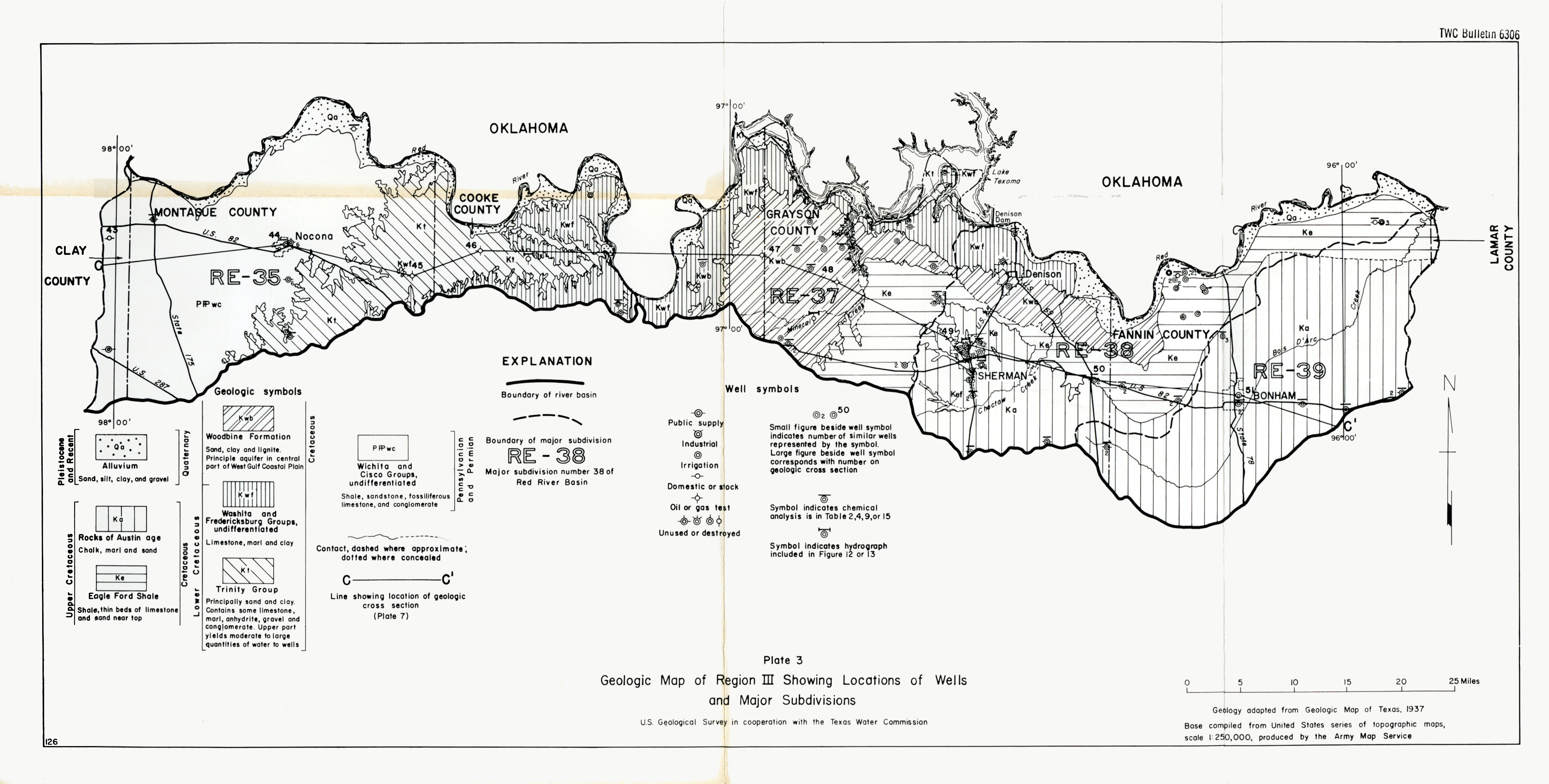 TWC Bulletin 6306 Geologic Map of Region III Showing Locations of Wells and Major Subdivisions