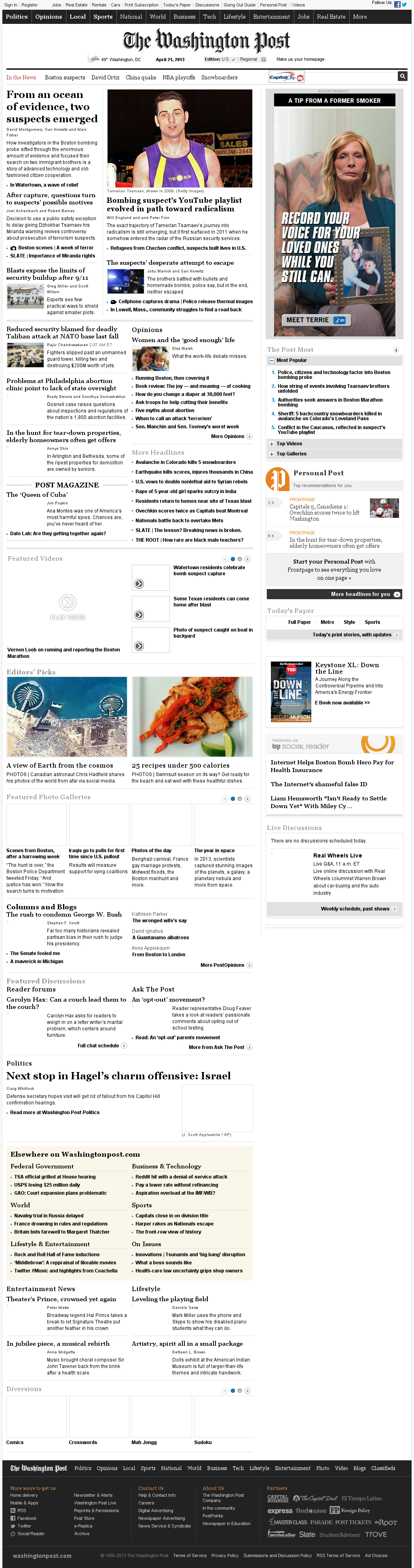 The Washington Post at Sunday April 21, 2013, 5:23 a.m. UTC