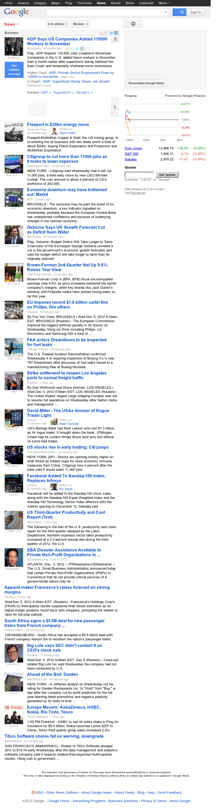 Google News: Business at Wednesday Dec. 5, 2012, 3:17 p.m. UTC