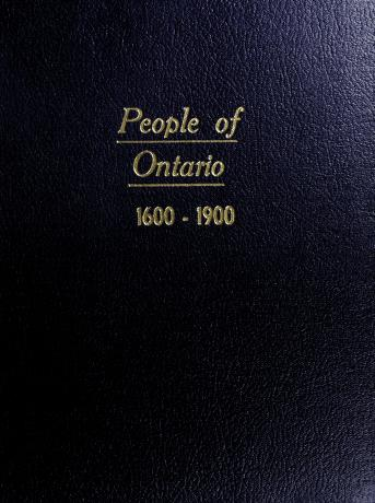 Cover of: People of Ontario, 1600-1900 | edited by Noel Montgomery Elliot.