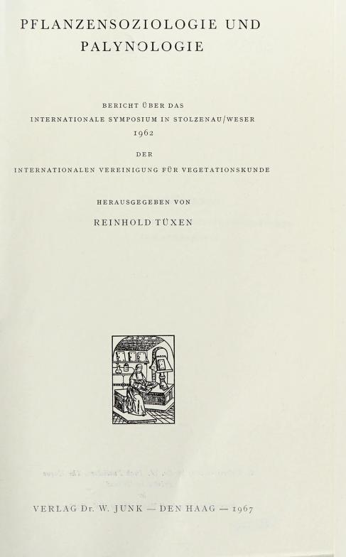 Pflanzensoziologie und Palynologie by Internationale Symposium fur Pflanzensoziologie und Palynologie,Stolzenau/Weser, 1962