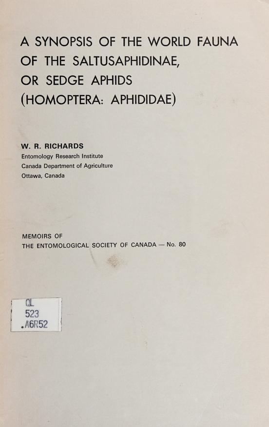 A synopsis of the world fauna of the Saltusaphidinae, or sedge aphids (Homoptera: Aphididae) by Richards, W. R.